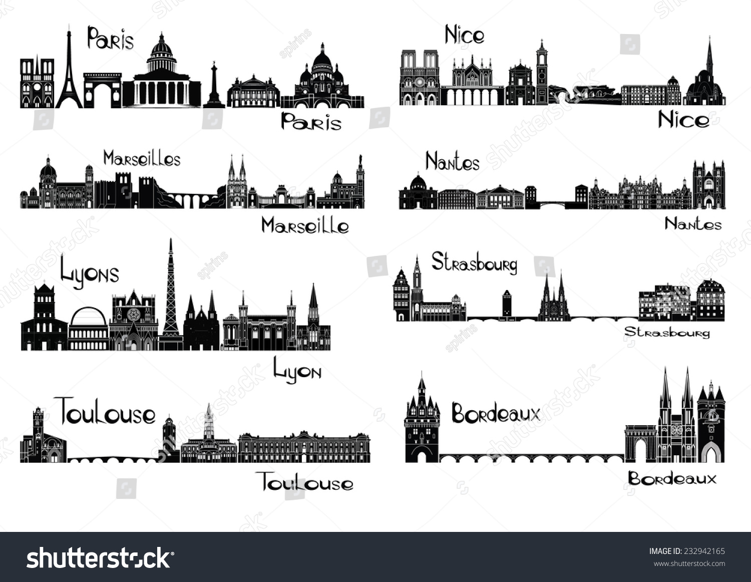 Vector Illustration Silhouettes Cities France Paris Stock