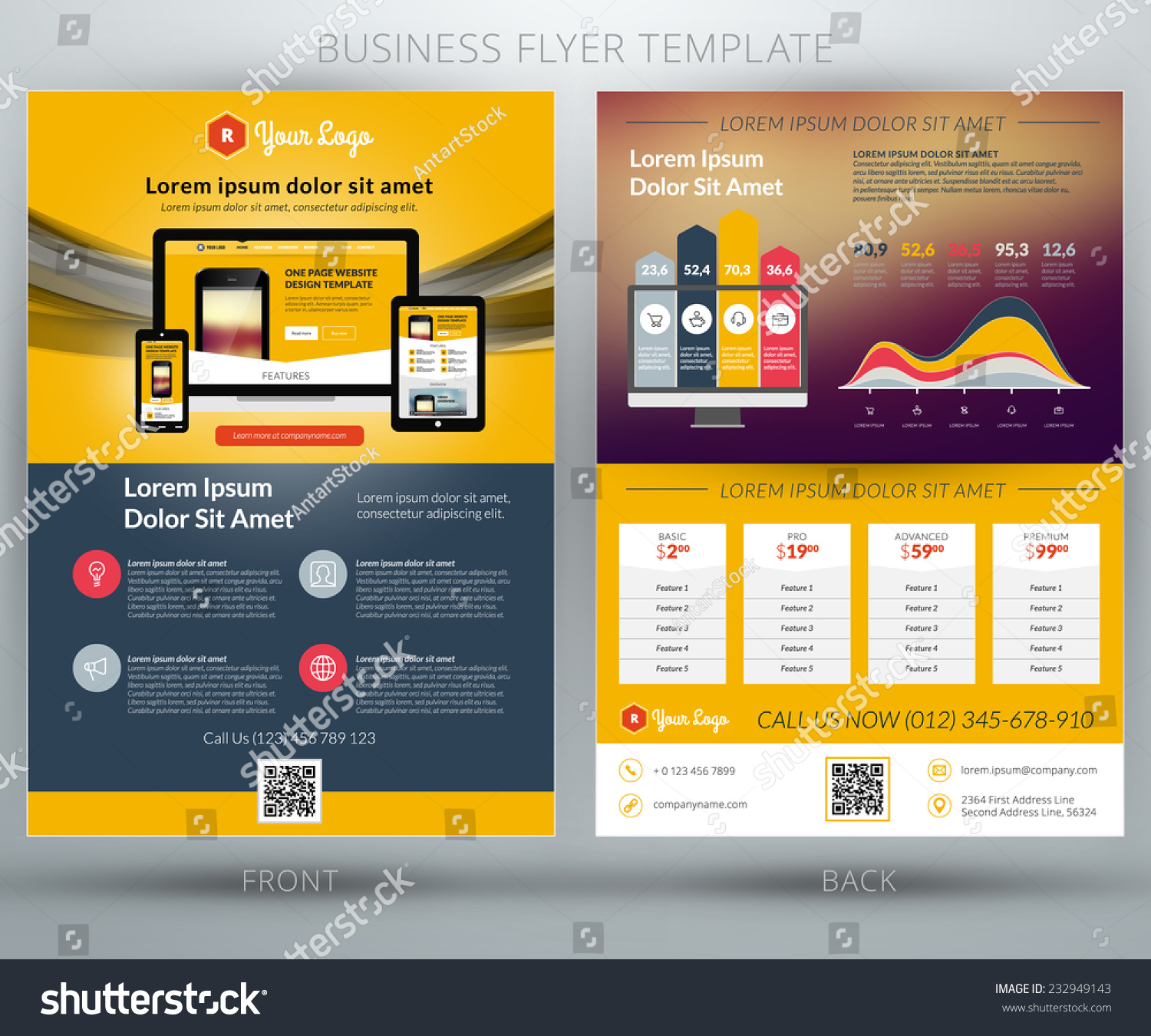 Vector Business Flyer Template Mobile Application Stock ...