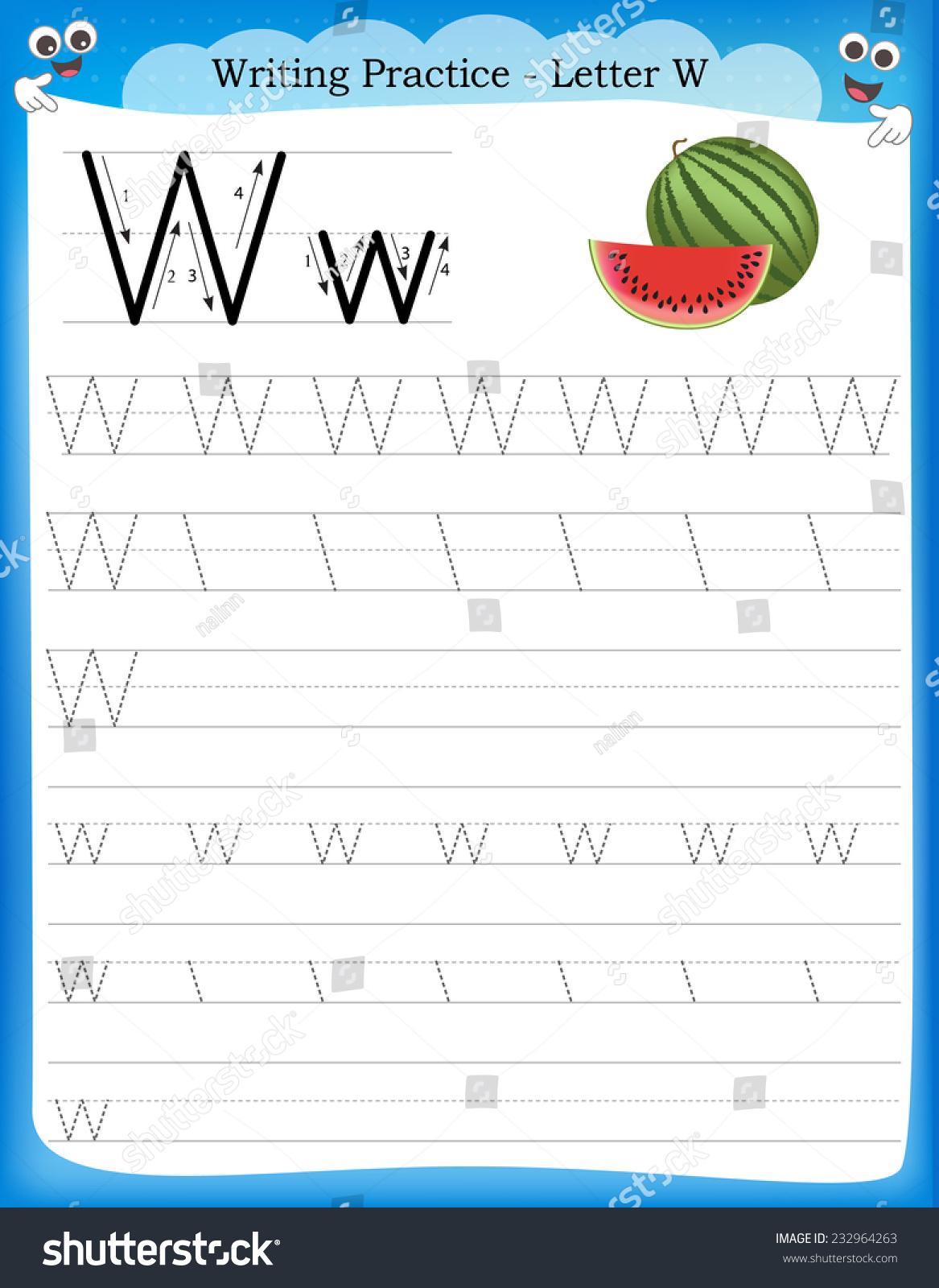 Writing practice letter w printable worksheet stock vector royalty writing practice letter w printable worksheet with clip art for preschool kindergarten kids to improve ibookread PDF
