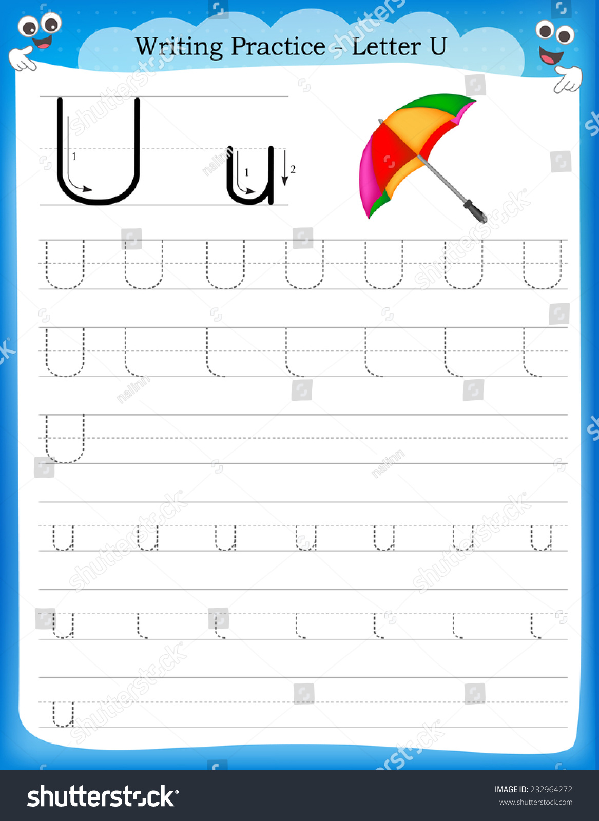 Workbooks letter u worksheets for kindergarten : Writing Practice Letter U Printable Worksheet Stock Vector ...