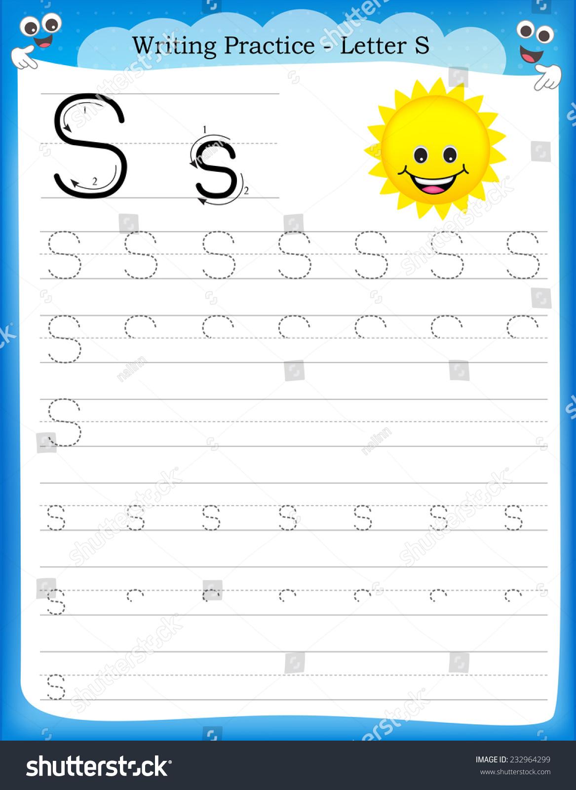 Stock Vector Writing Practice Letter S Printable Worksheet With Clip Art For Preschool Kindergarten Kids To on Z Kindergarten Worksheets