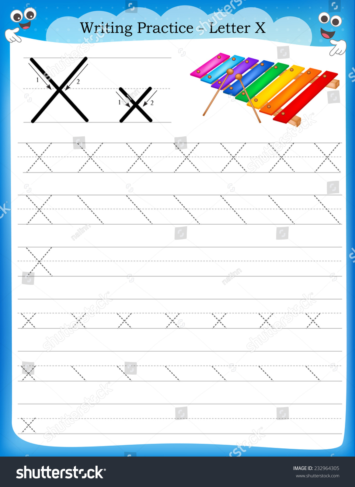 Stock Vector Writing Practice Letter X Printable Worksheet With Clip Art For Preschool Kindergarten Kids To on Stock Illustration Writing Practice Letter P Printable Worksheet Clip