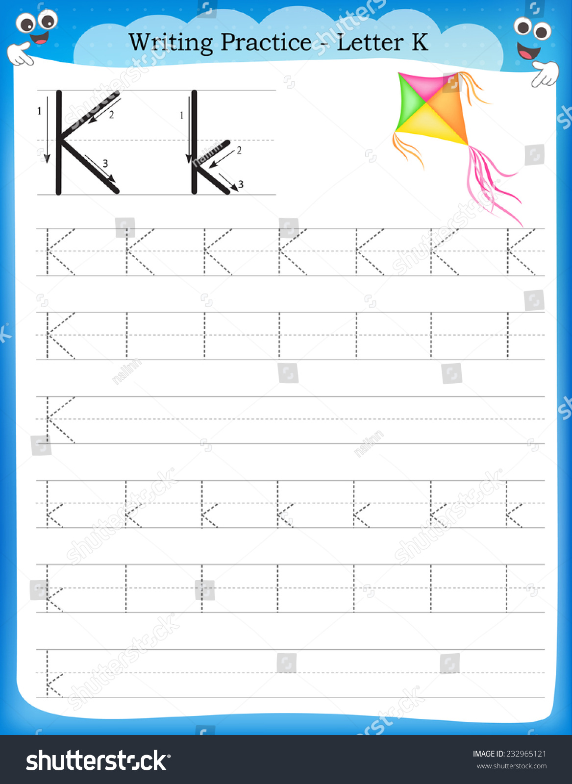 Writing Practice Letter K Printable Worksheet Stock Vector