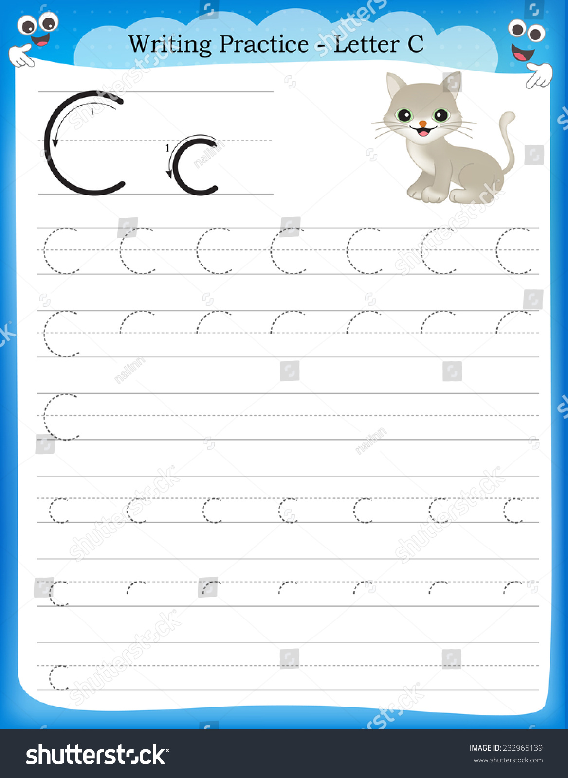 Writing Practice Letter C Printable Worksheet Vector – Letter C Worksheets for Preschool