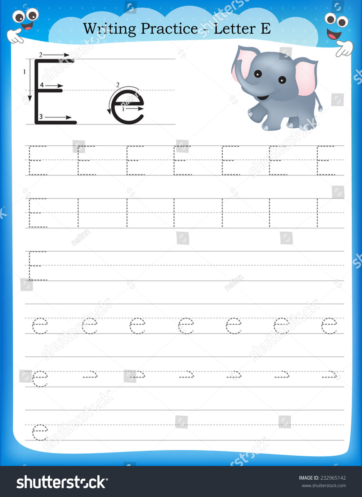 Writing practice letter E printable worksheet for preschool kindergarten kids to improve basic writing skills