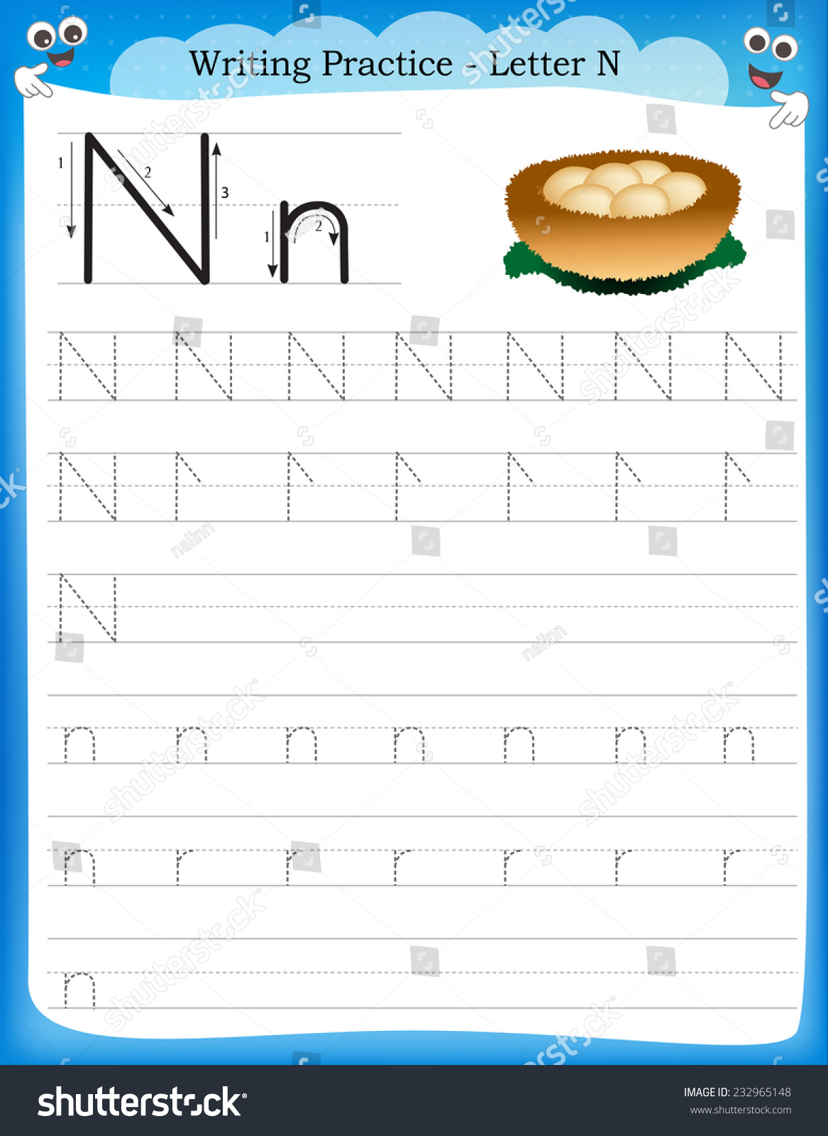 Workbooks letter n worksheets for preschoolers : Writing Practice Letter N Printable Worksheet Stock Vector ...