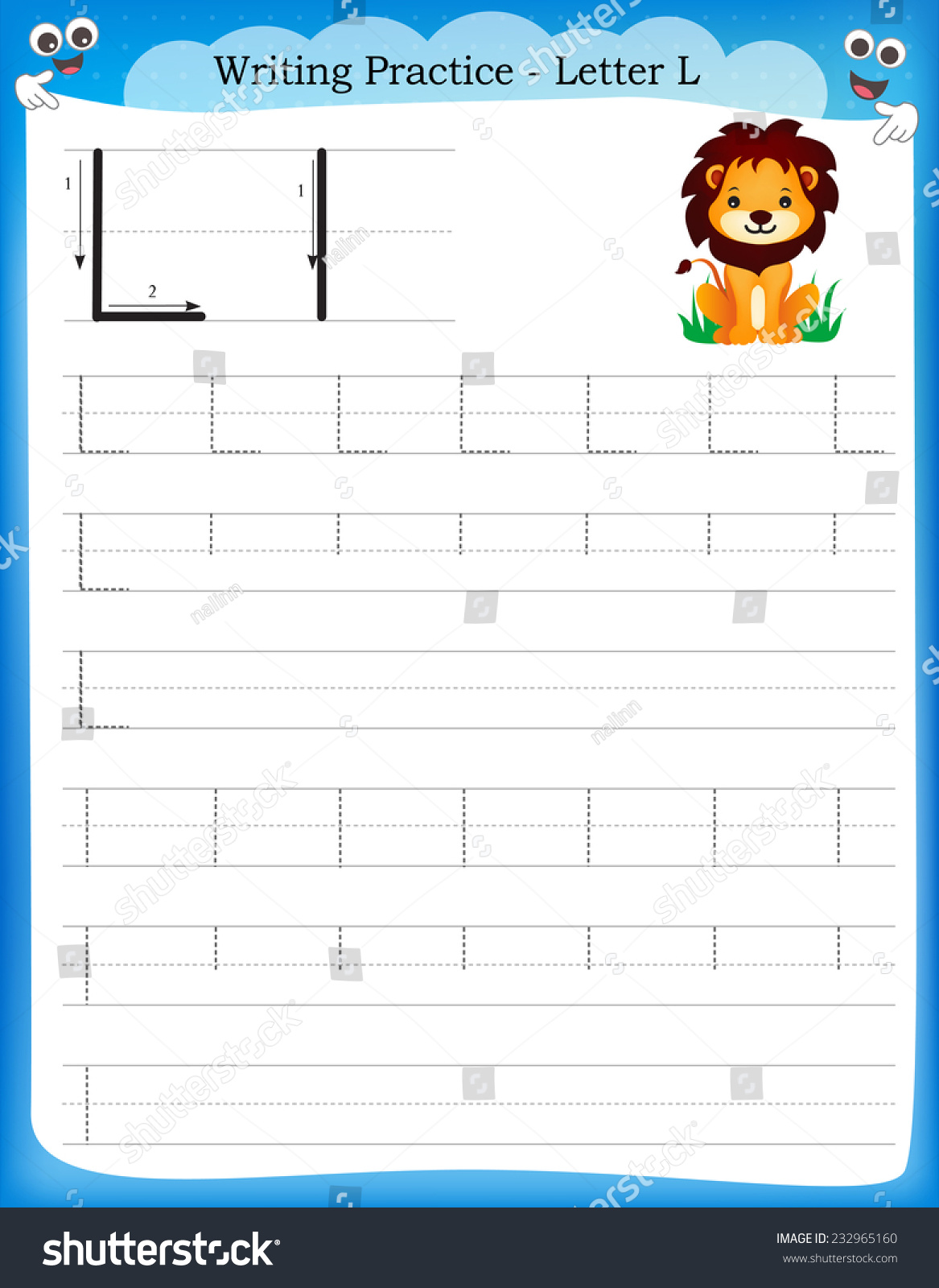 Writing Practice Letter L Printable Worksheet With Clip