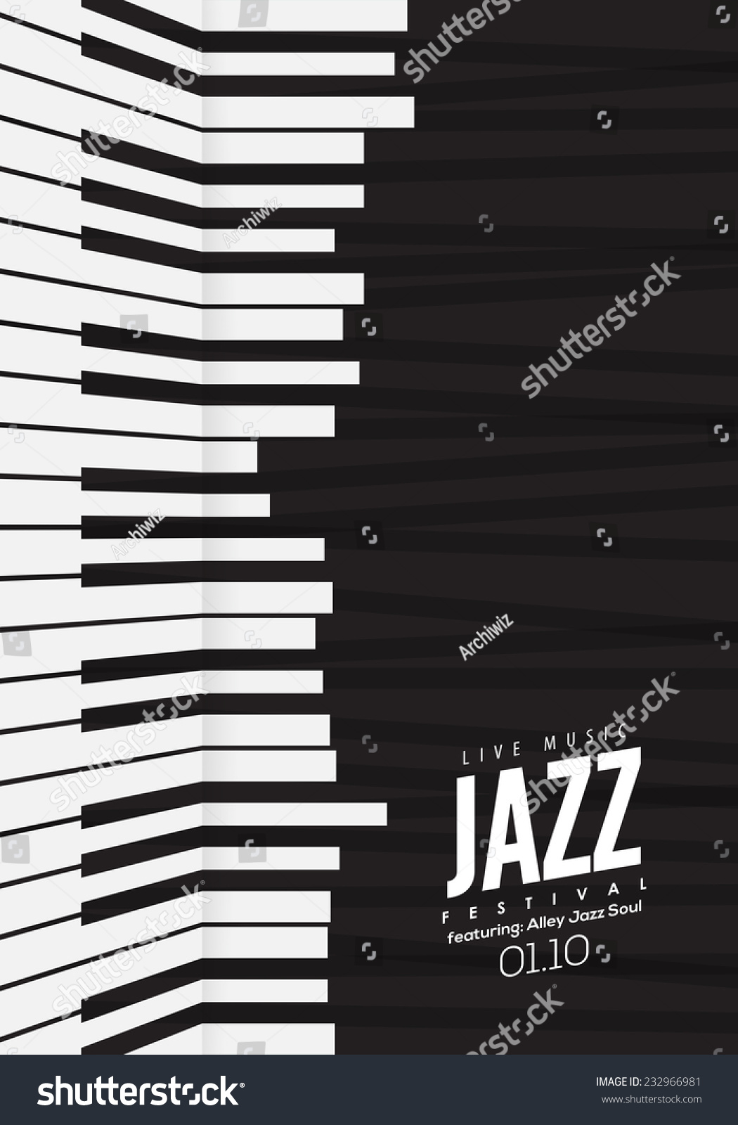 jazz music poster background template piano stock vector 232966981 shutterstock. Black Bedroom Furniture Sets. Home Design Ideas