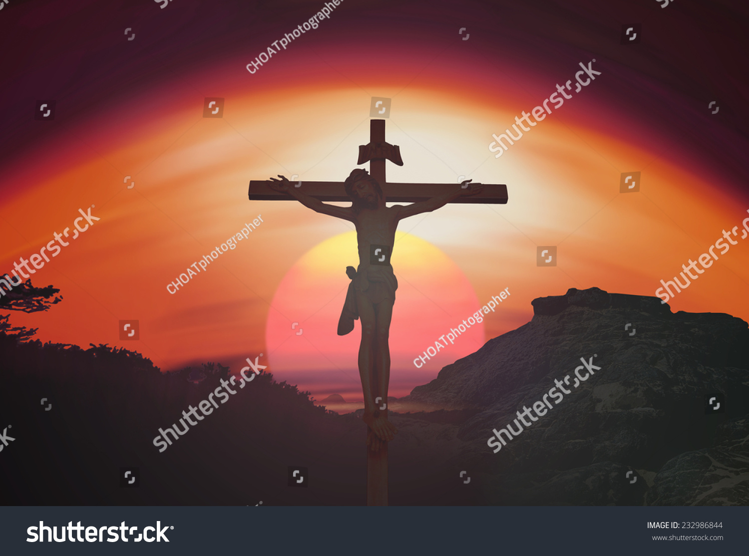 passion concept jesus christ on cross stock photo 232986844
