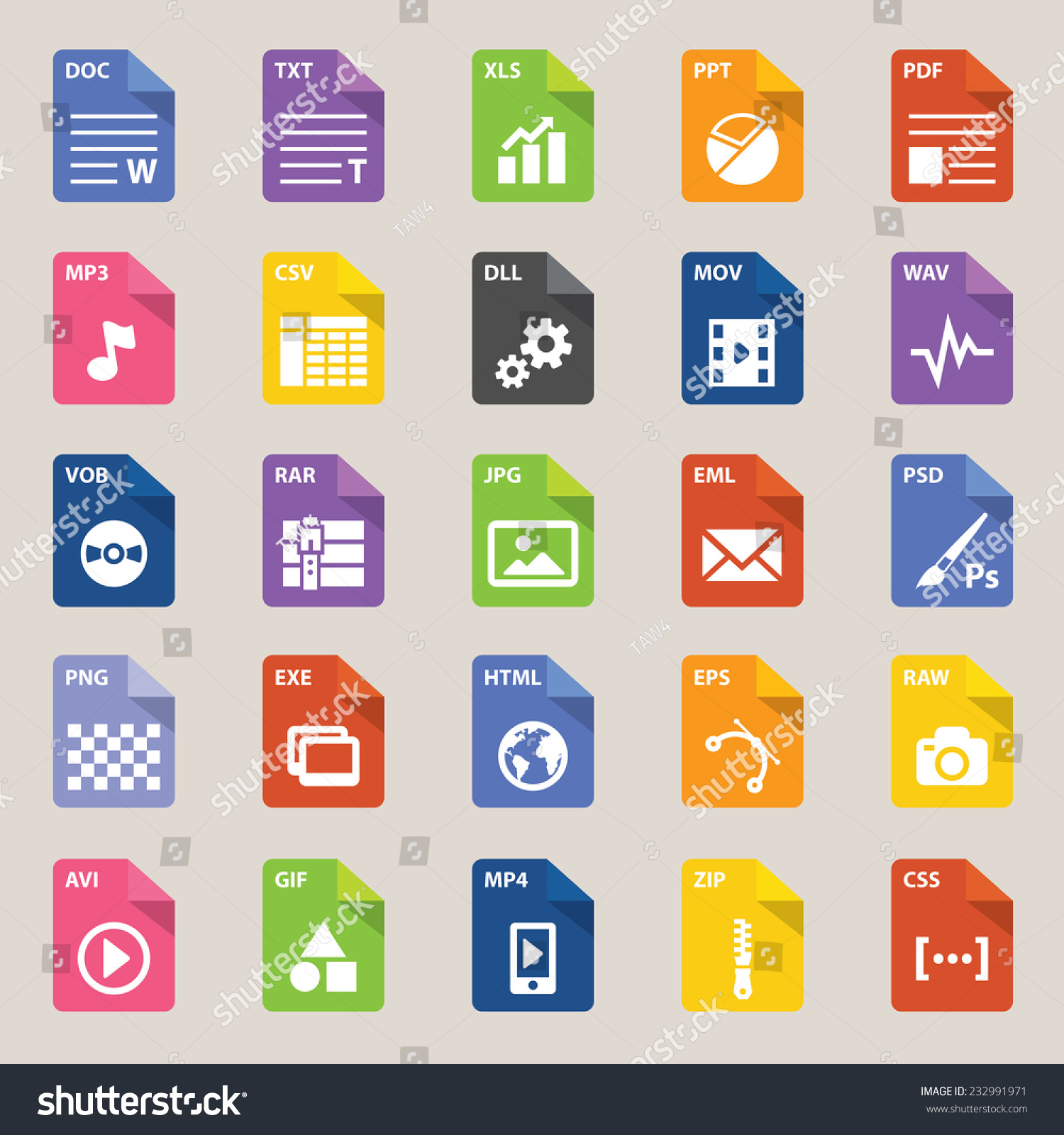 File Types Icon Stock Vector Illustration 232991971 : Shutterstock: www.shutterstock.com/pic-232991971/stock-vector-file-types-icon.html
