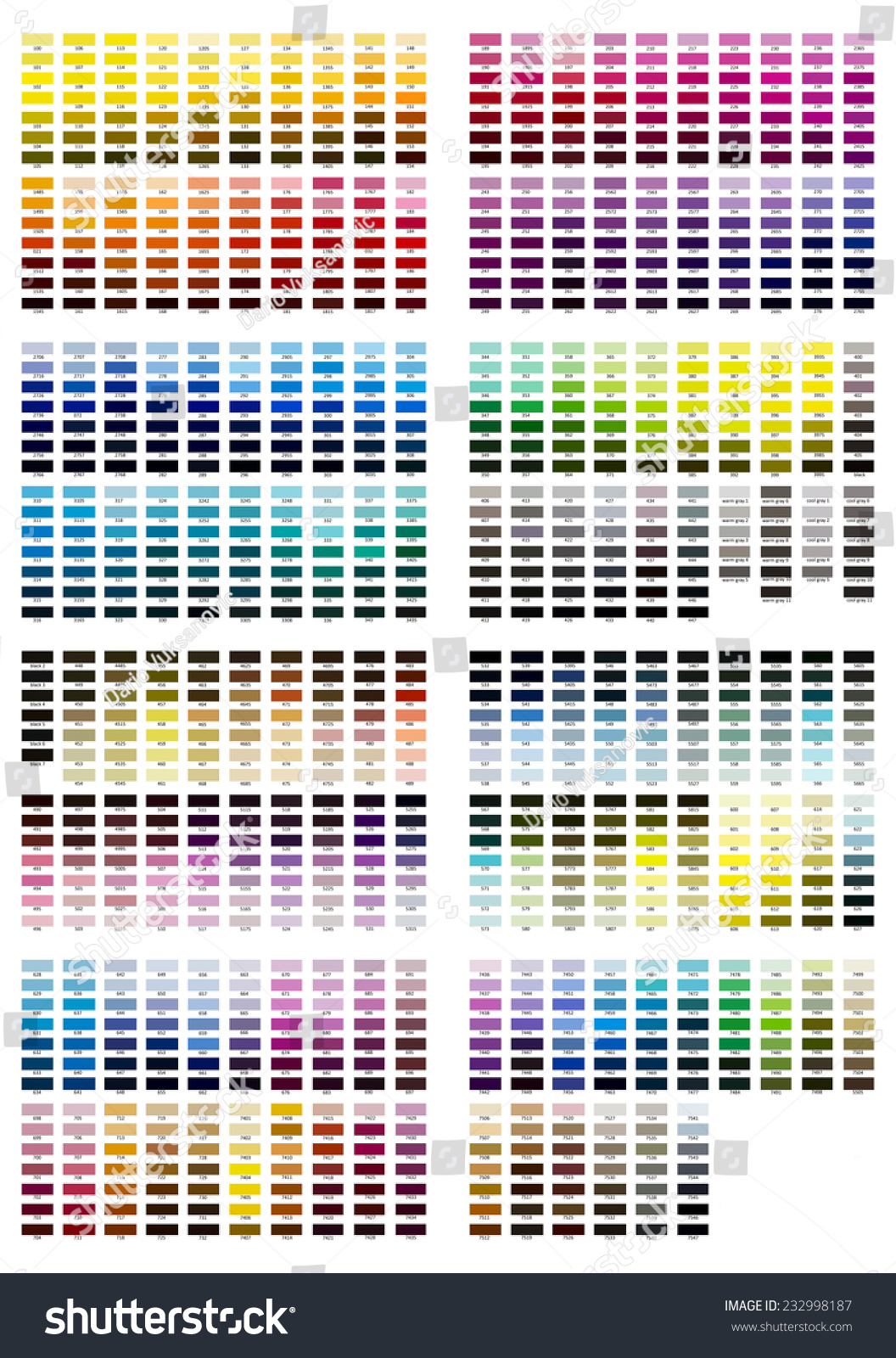 Color Reference Illustration All Shades 100 Stock