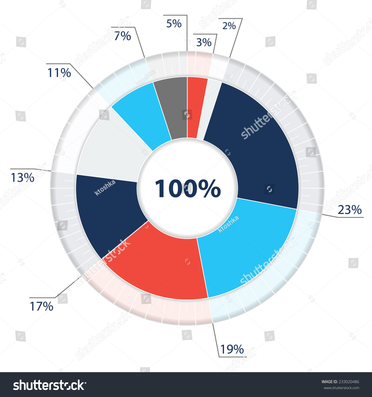 vector pie chart template segments 2 stock vector (royalty free