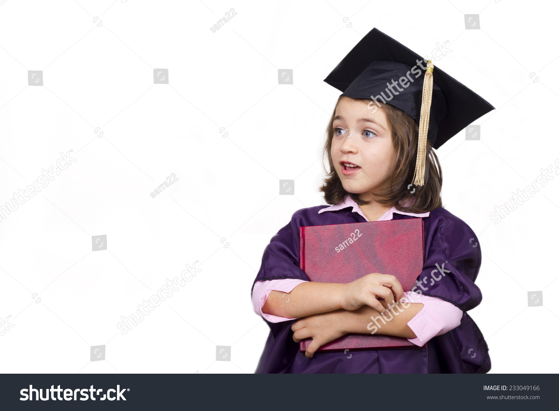 Attractive Little Girl Large Graduation Cap Stock Photo (Royalty ...