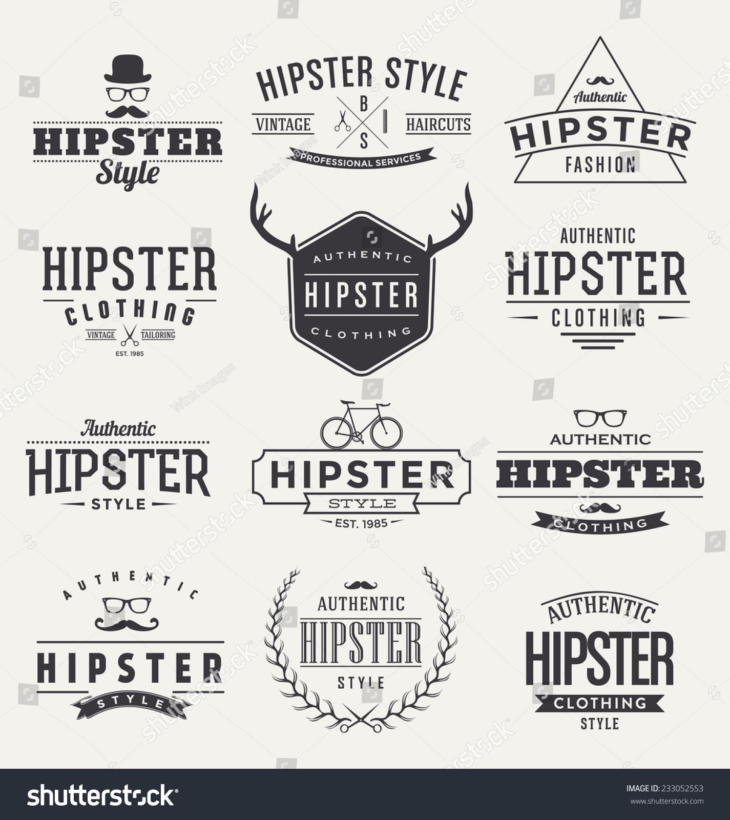Hipster Set Typographic Label Design Trendy Vintage