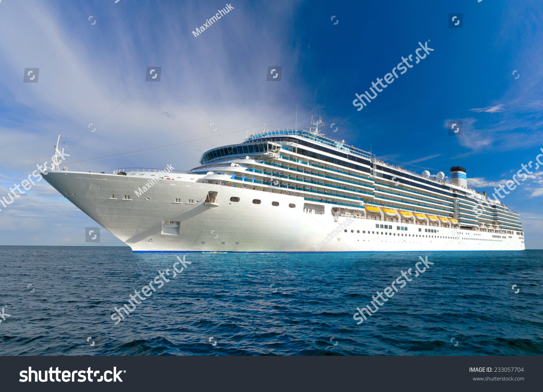 Large Beautiful Cruise Ship Sea Nice Stock Photo 233057704