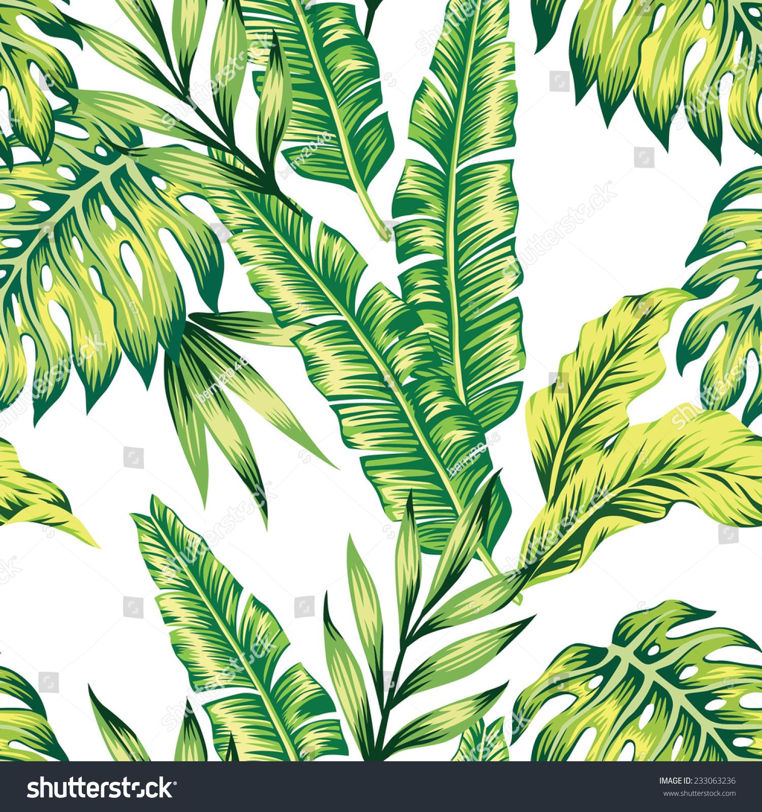 Print Summer Exotic Jungle Plant Tropical Image Vectorielle