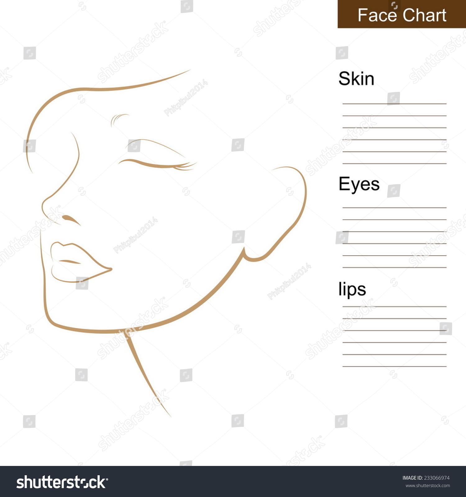 Swell Face Chart Makeup Artist Blank Stock Vektorgrafik Lizenzfrei Wiring Digital Resources Nekoutcompassionincorg