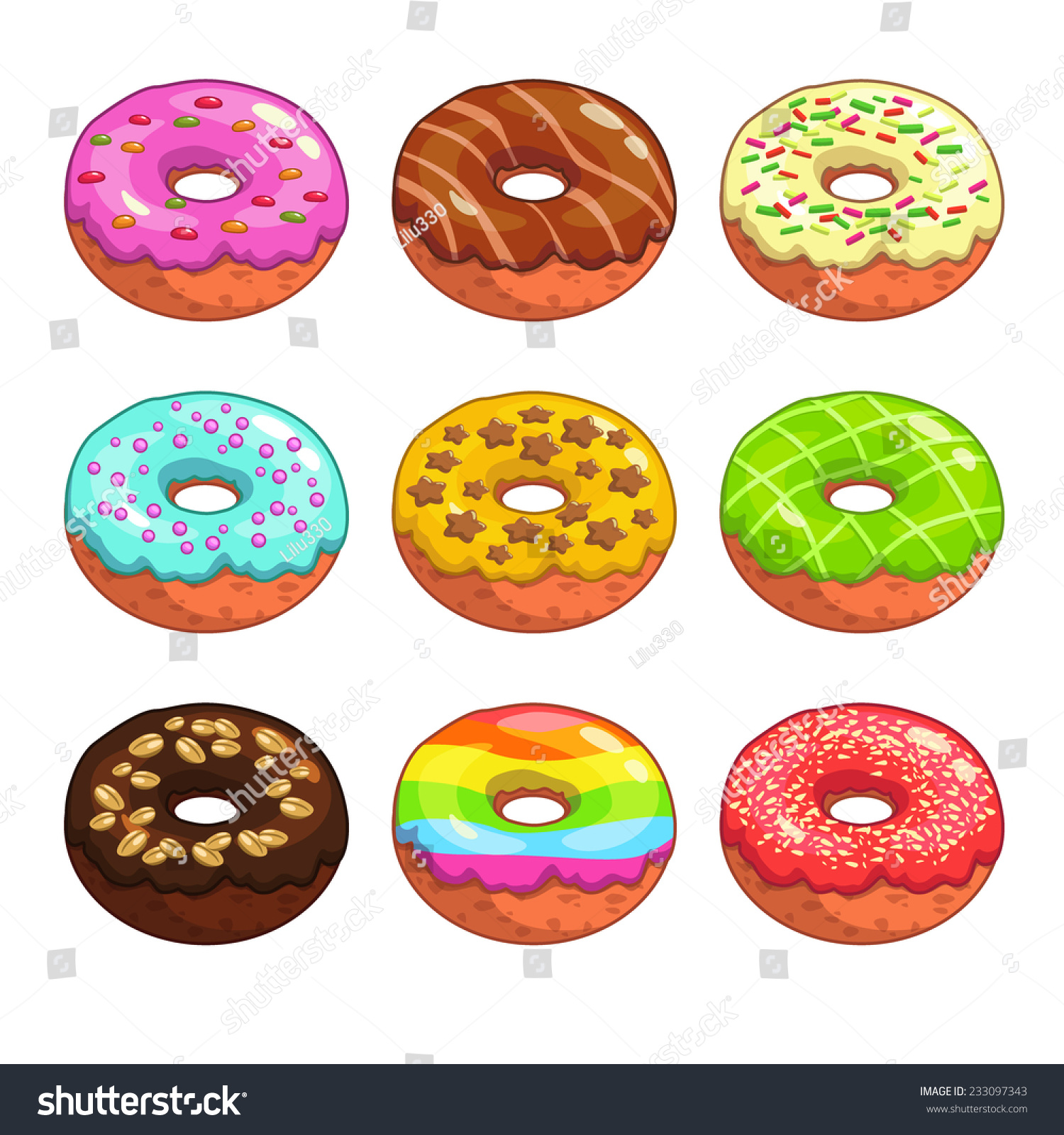 Set Of Cartoon Colorful Donuts On The White Background ...