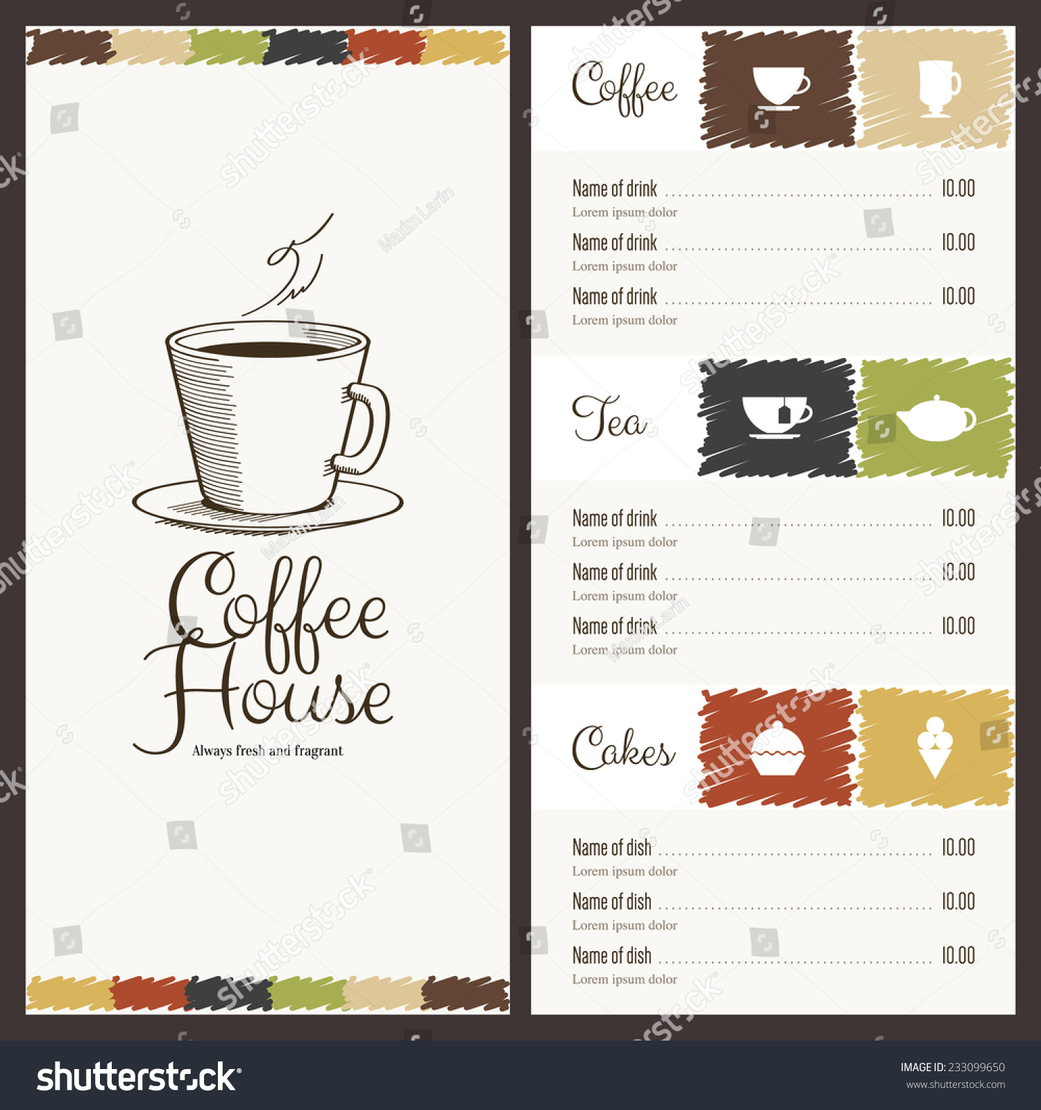Restaurant coffee house menu design vector stock