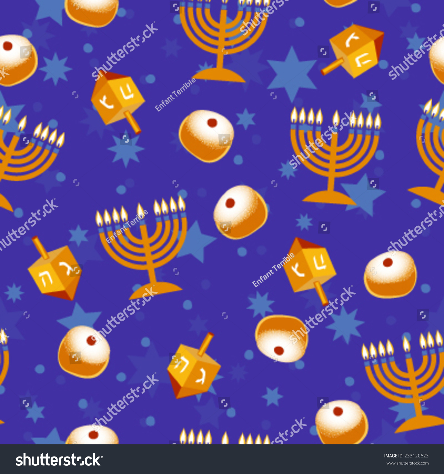 Hanukkah Seamless Pattern Vector Background Wallpaper Stock Vector