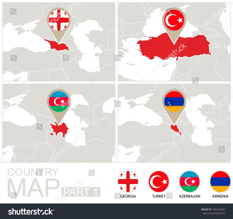 Europe Highlighted Georgia Turkey Azerbaijan Armenia Stockillustration 233125204