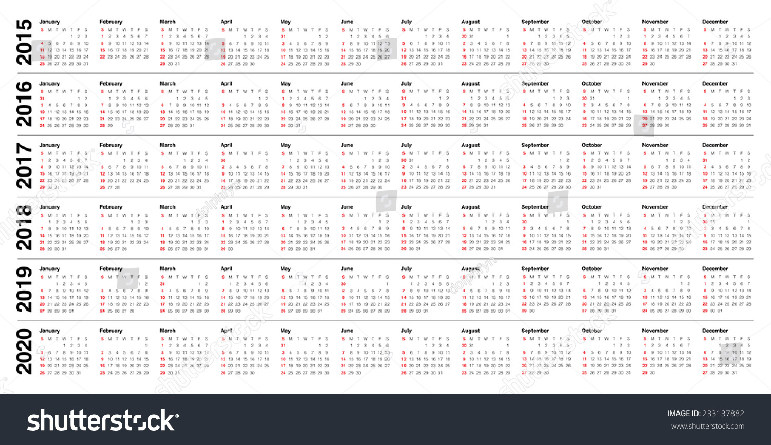 Yearly Calendar 2014 2019 Simple calendar 2015 2016 2017 2018… Stock Photo 233137882