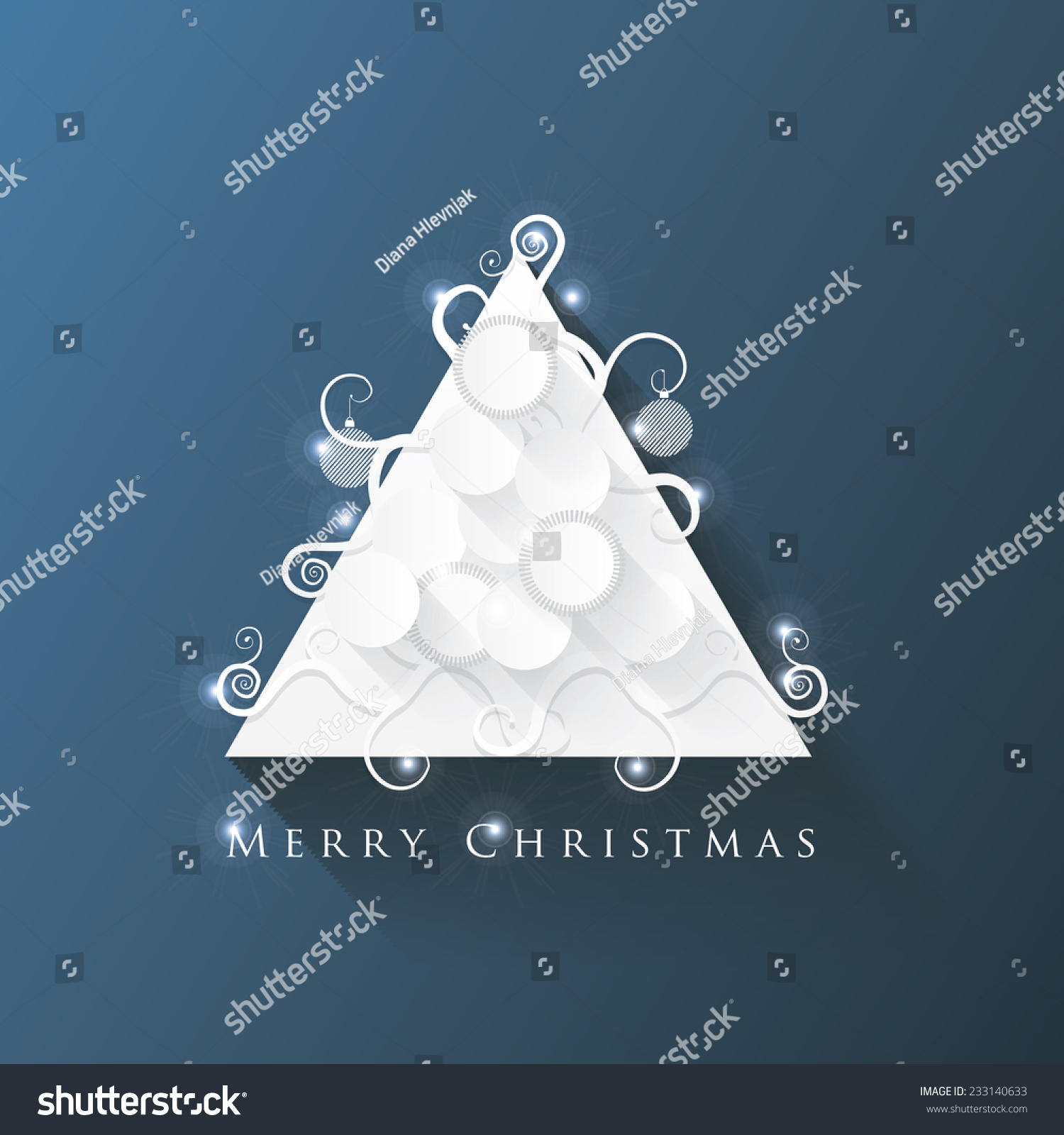 white modern abstract christmas tree decoration paper cutout installation