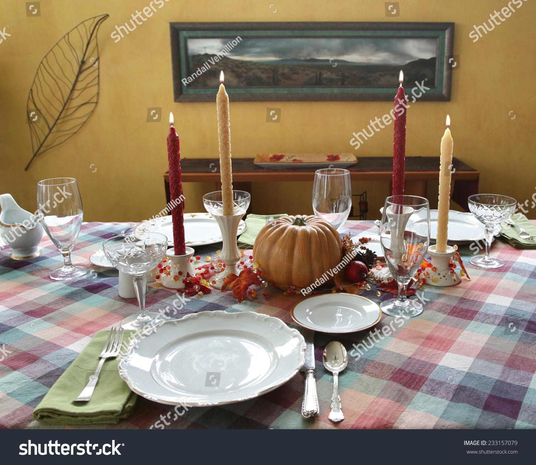 Autumn Fall theme Thanksgiving dinner table place setting & Autumn Fall Theme Thanksgiving Dinner Table Stock Photo 233157079 ...