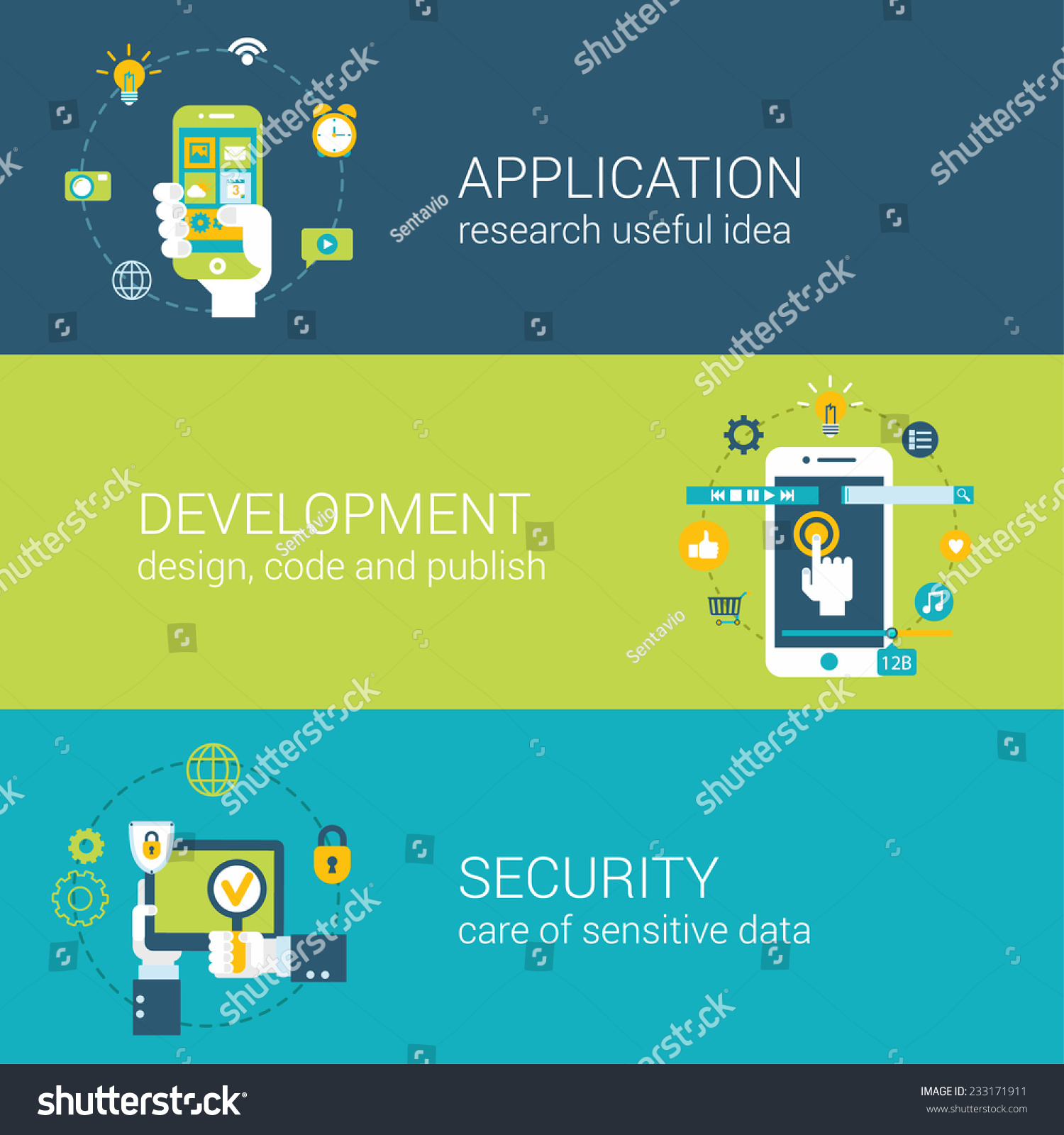 flat style application security research development infographic concept hand with touch smart. Black Bedroom Furniture Sets. Home Design Ideas