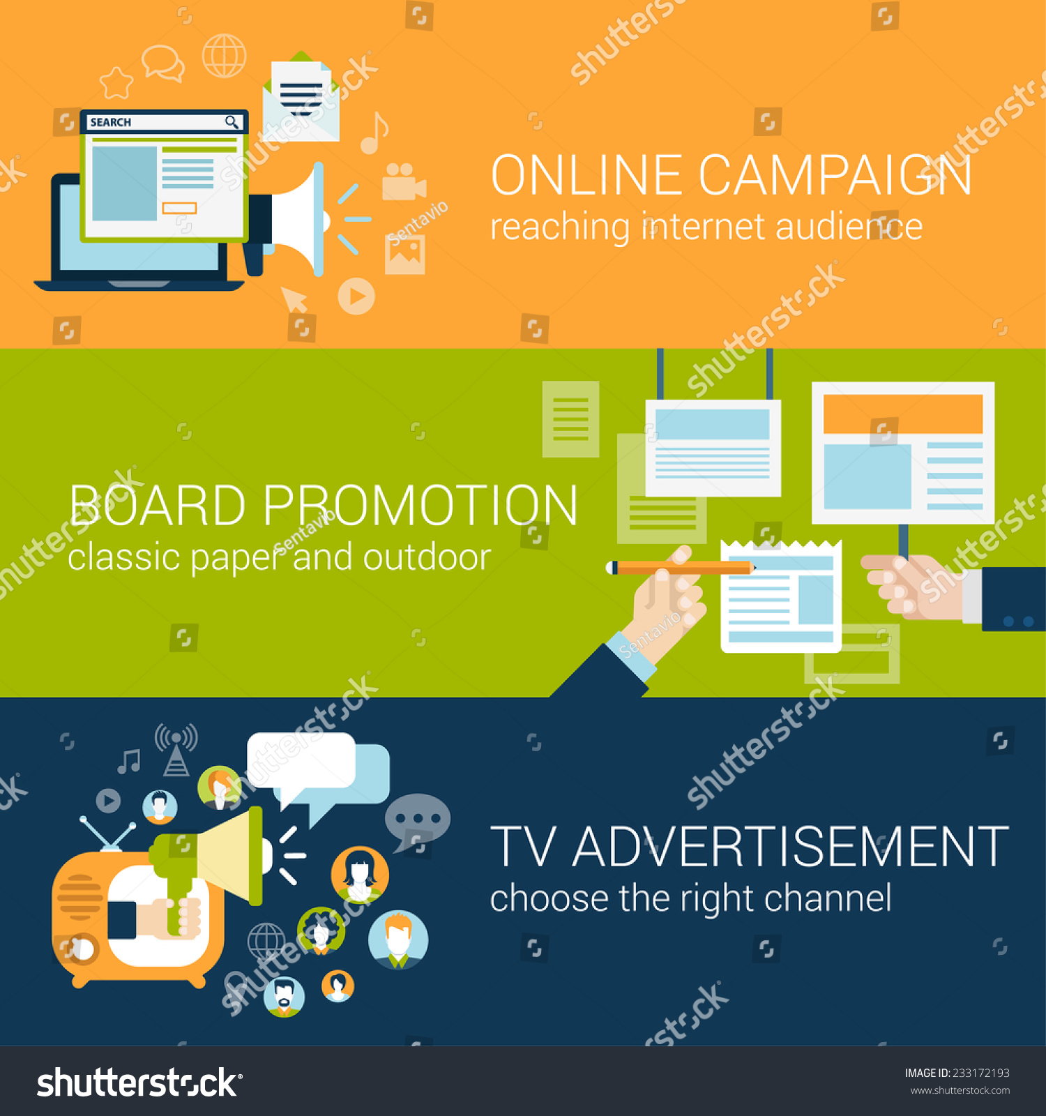 Flat style infographic advertising campaign types stock for Online marketing campaign template