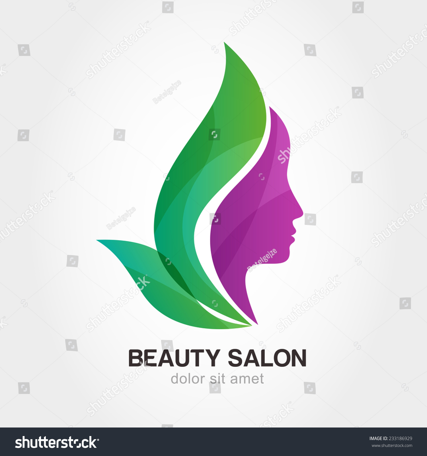 Womans face flower leaves abstract design stock vector for Abstract beauty salon