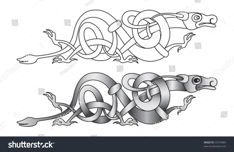 Stylized Decorative Celtic Dragon Knotwork Illustration Stock Vector ...