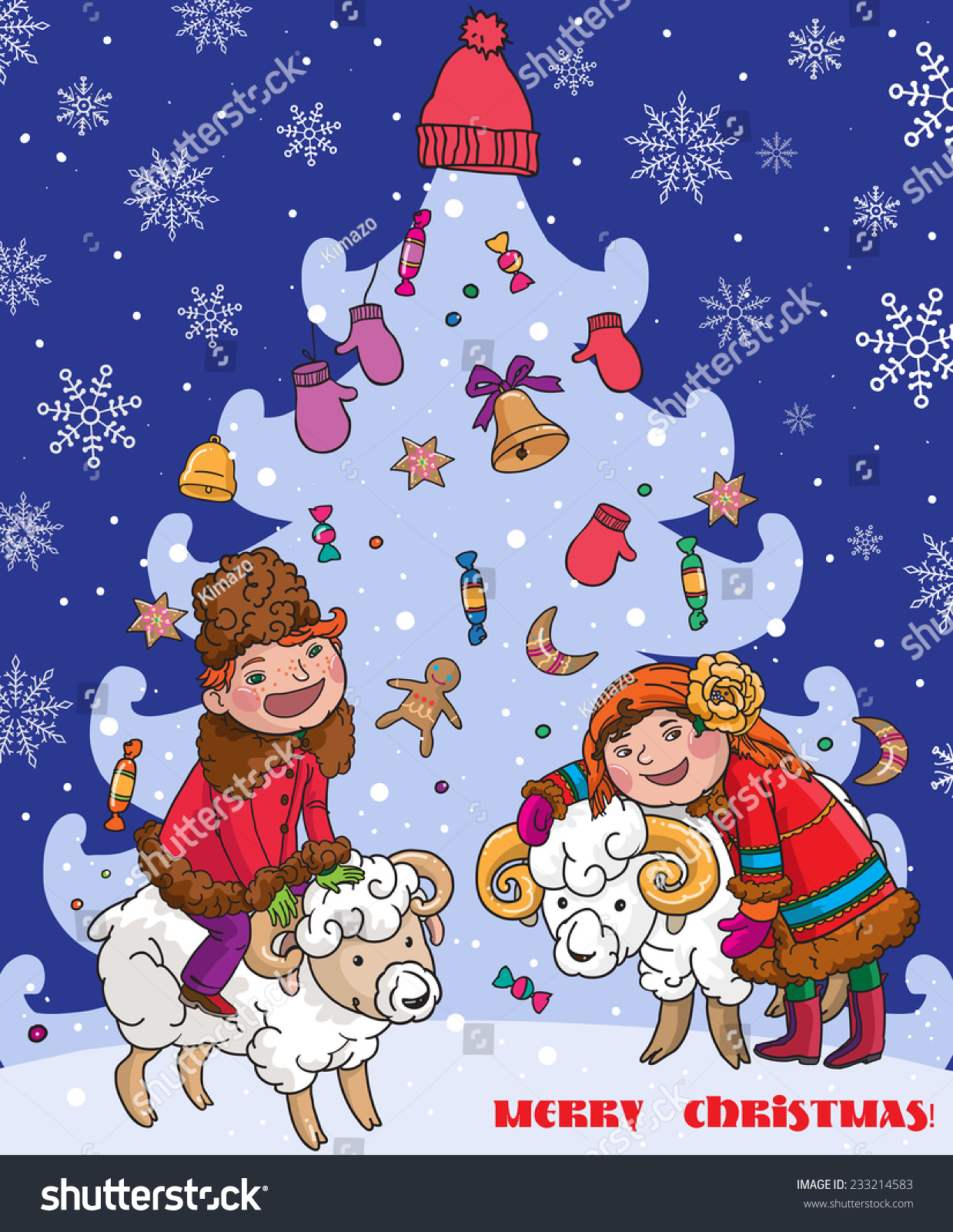 traditional ukrainian russian christmas card boy and girl beside christmas tree merry christmas - Russian Merry Christmas