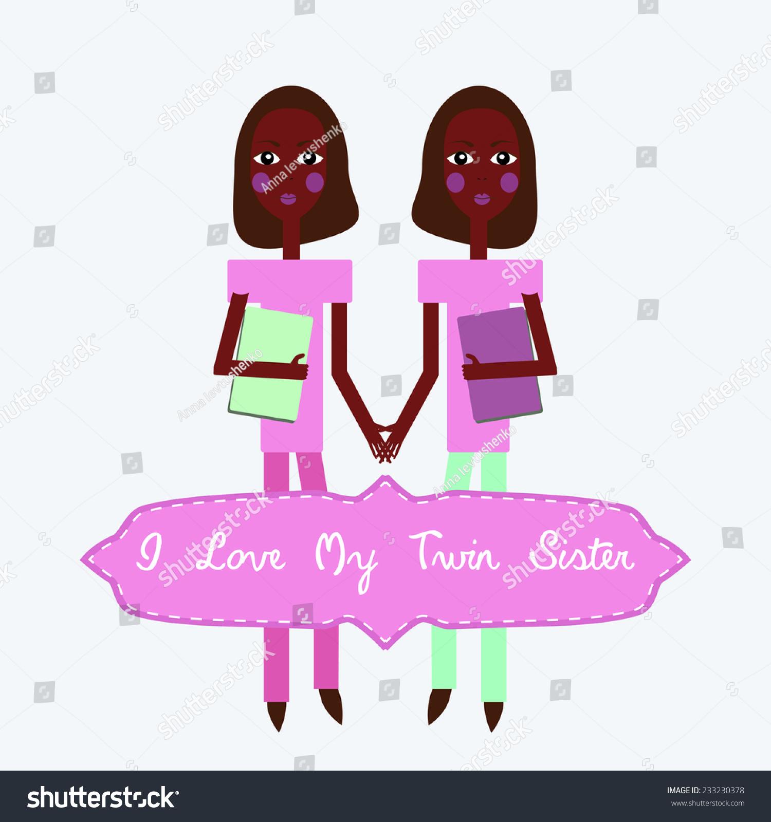 Twins I Love My Twin Sister Happy Birthday Invitation Card