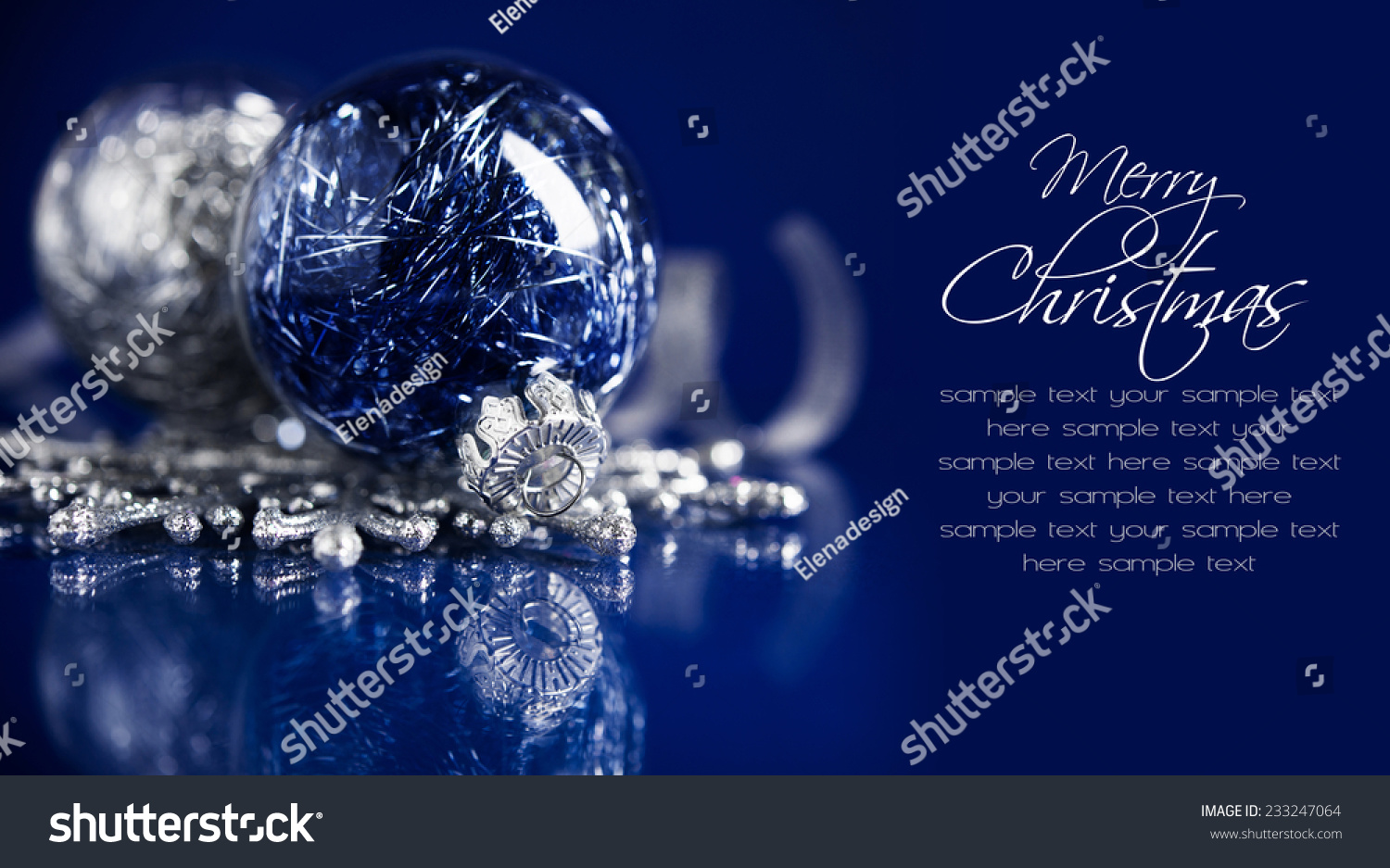 Silver and blue christmas ornaments on dark blue - Is blue a christmas color ...