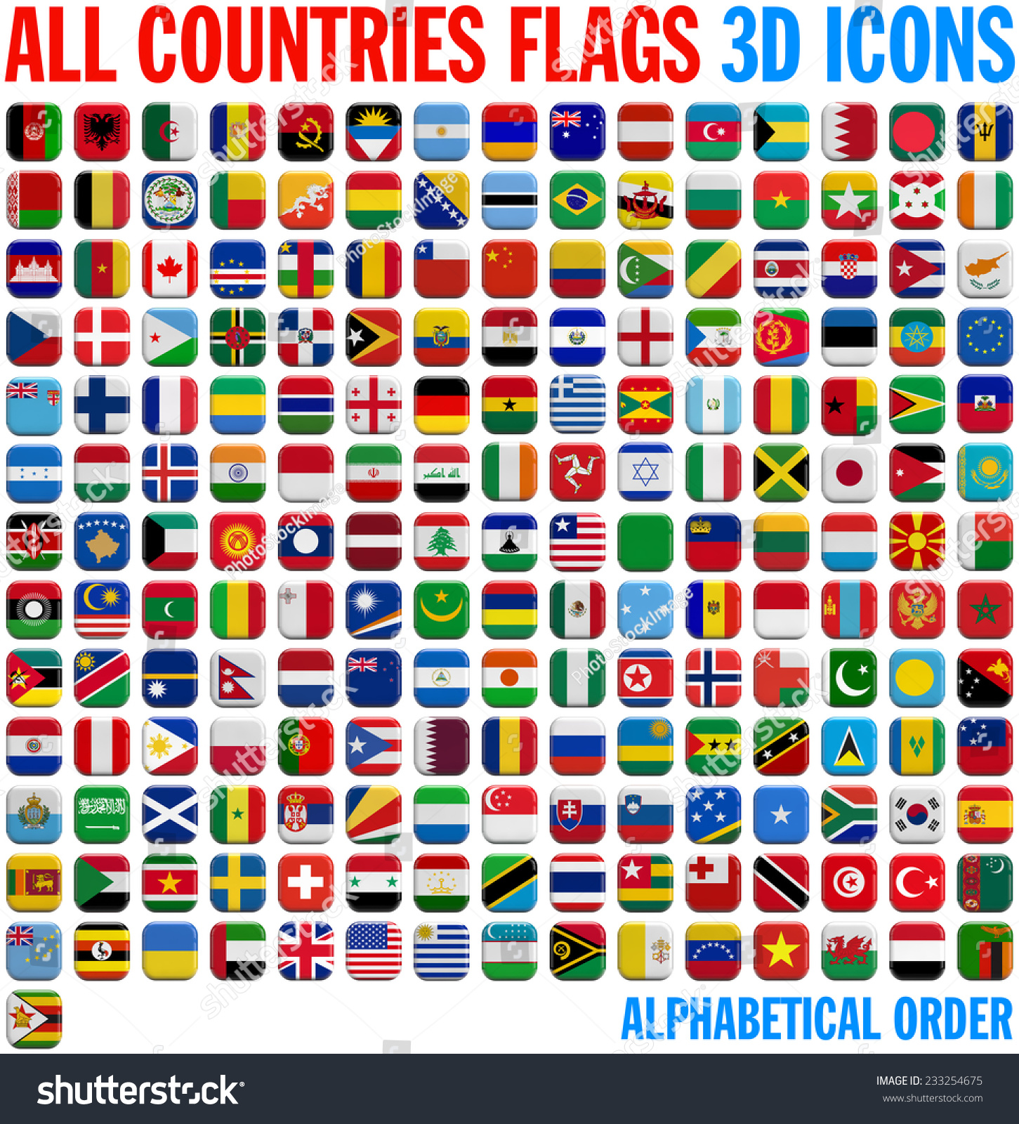 All Country Flags Complete Set 3d Stock Illustration 233254675 ...