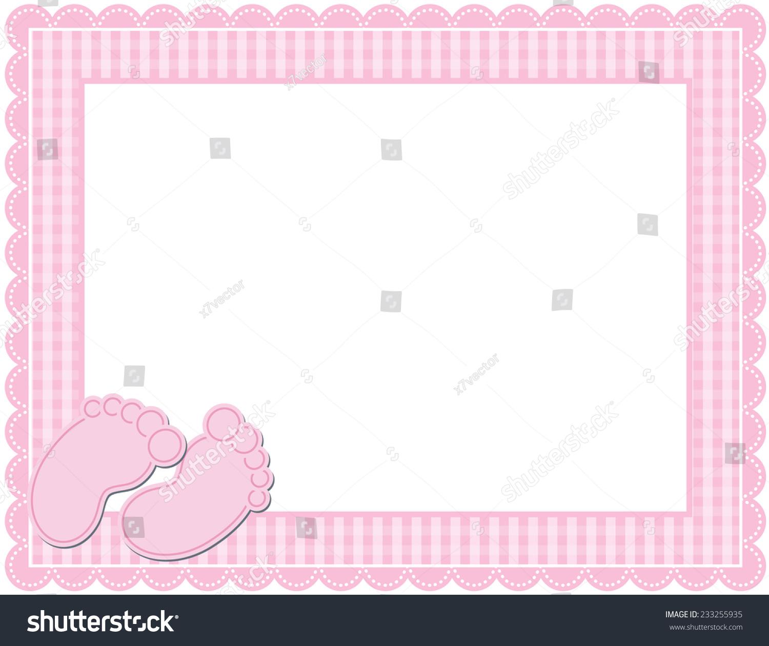 Baby GIRL Gingham Frame Gingham Patterned Frame Stock Illustration ...