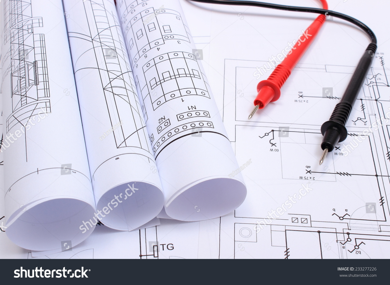Rolls Electrical Diagrams Cables Multimeter Lying Stock Photo Edit Diagram L N Of And On Construction Drawing House Drawings