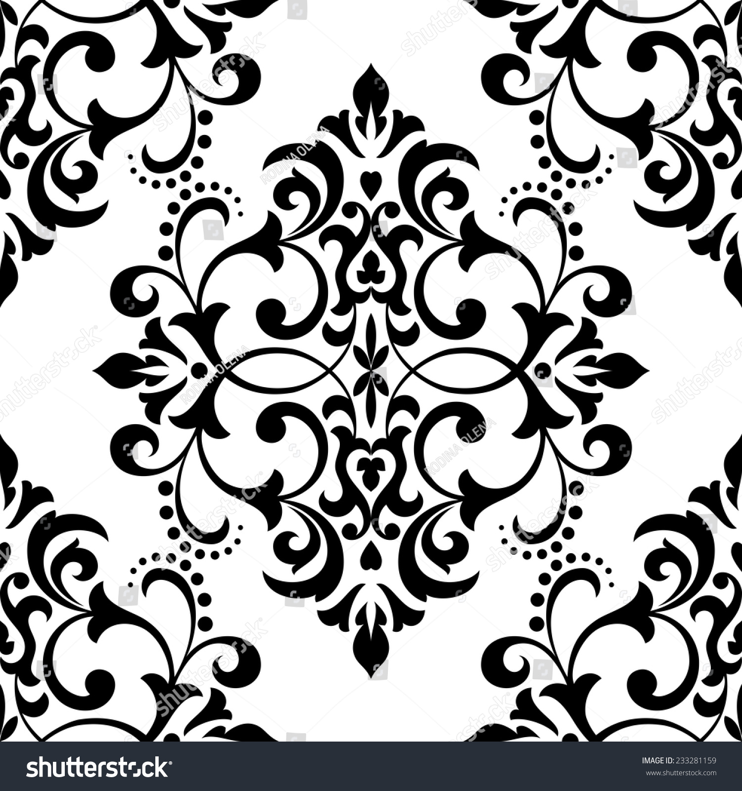 Floral Pattern Black And White Background