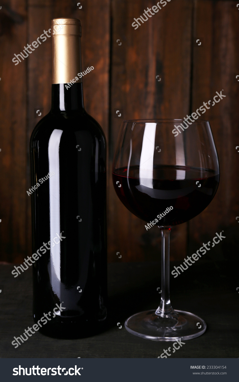 Red Wine Glass Bottle Wine On Stock Photo Edit Now 233304154