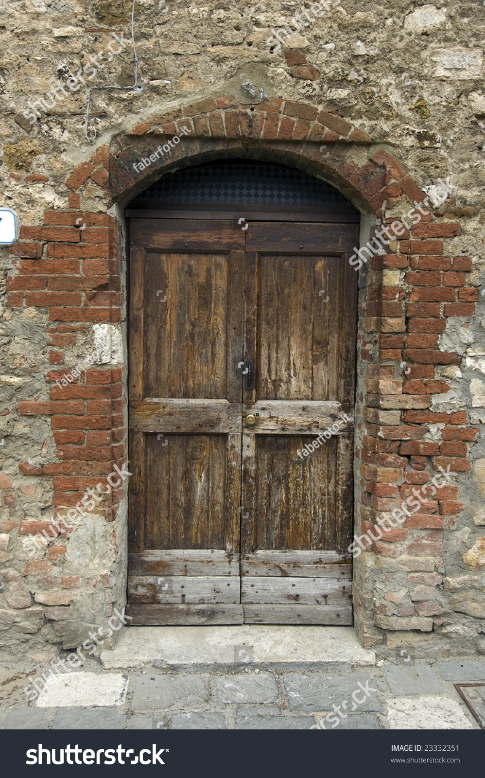 Old Wooden Door Italian Style Tuscany Stock Photo 23332351