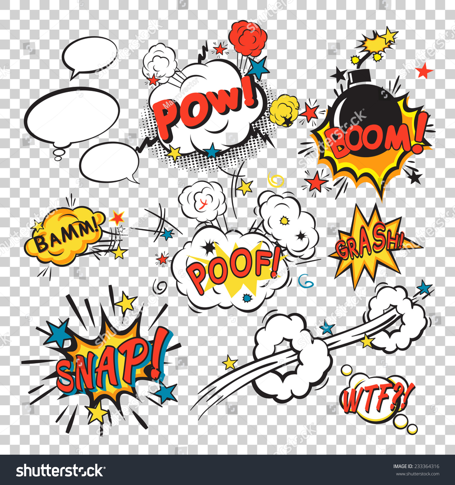 Comic Speech Bubbles Pop Art Style Stock Vector 233364316 ...