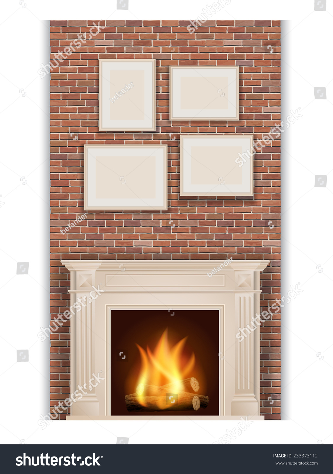 classic fireplace on brick wall background stock vector 233373112