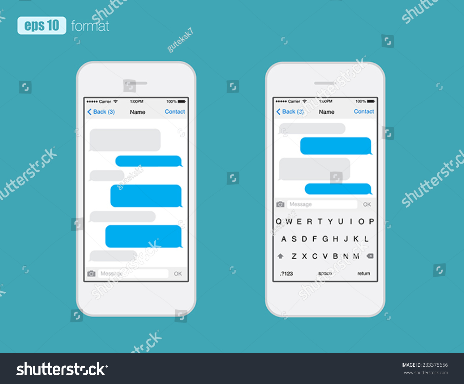 smart phone chatting sms template bubbles place your own text to the message clouds compose. Black Bedroom Furniture Sets. Home Design Ideas