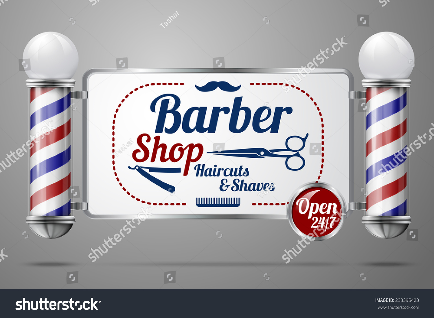 Antique barber shop signs - Realistic Vector Two Old Fashioned Vintage Silver And Glass Barber Shop Poles Holding Barber Sign