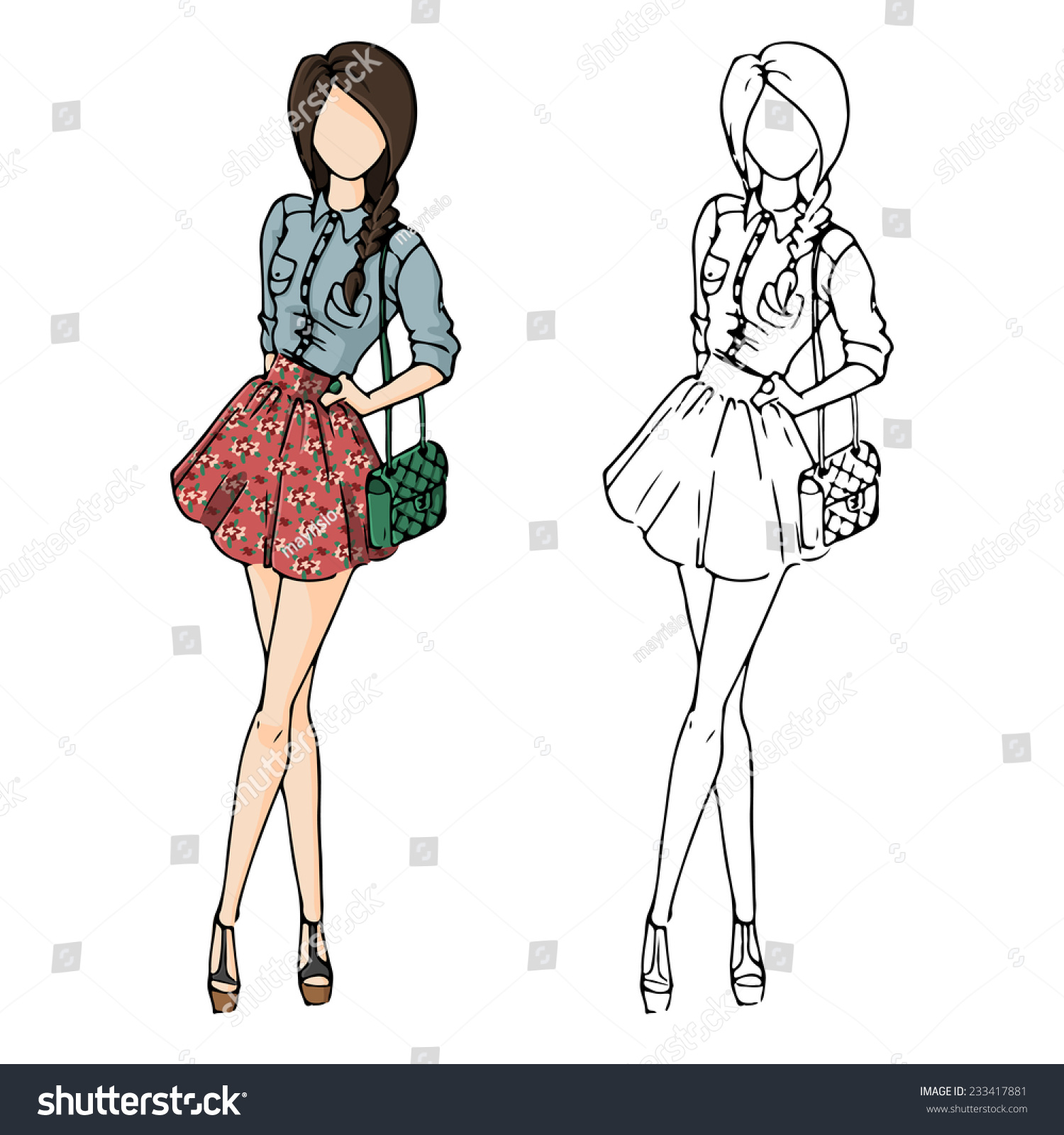Fashion Sketch Drawing Girls Beautiful Looks Stock Vector 233417881 Shutterstock