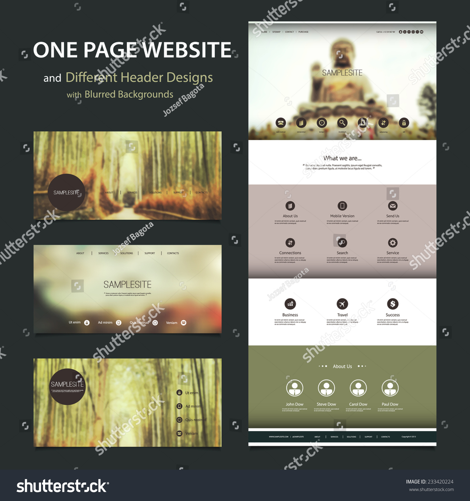One Page Website Template: One Page Website Template And Different Header Designs
