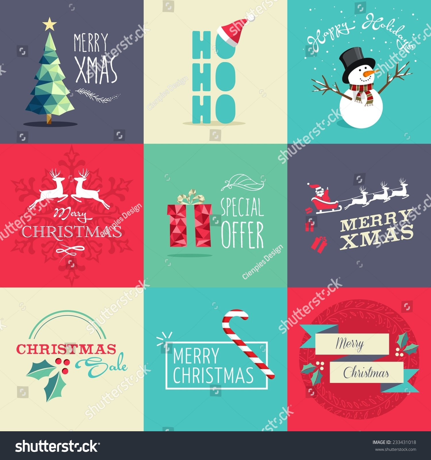 set flat design elements christmas ideal stock vector  set of flat design elements for christmas ideal for greeting card poster and web