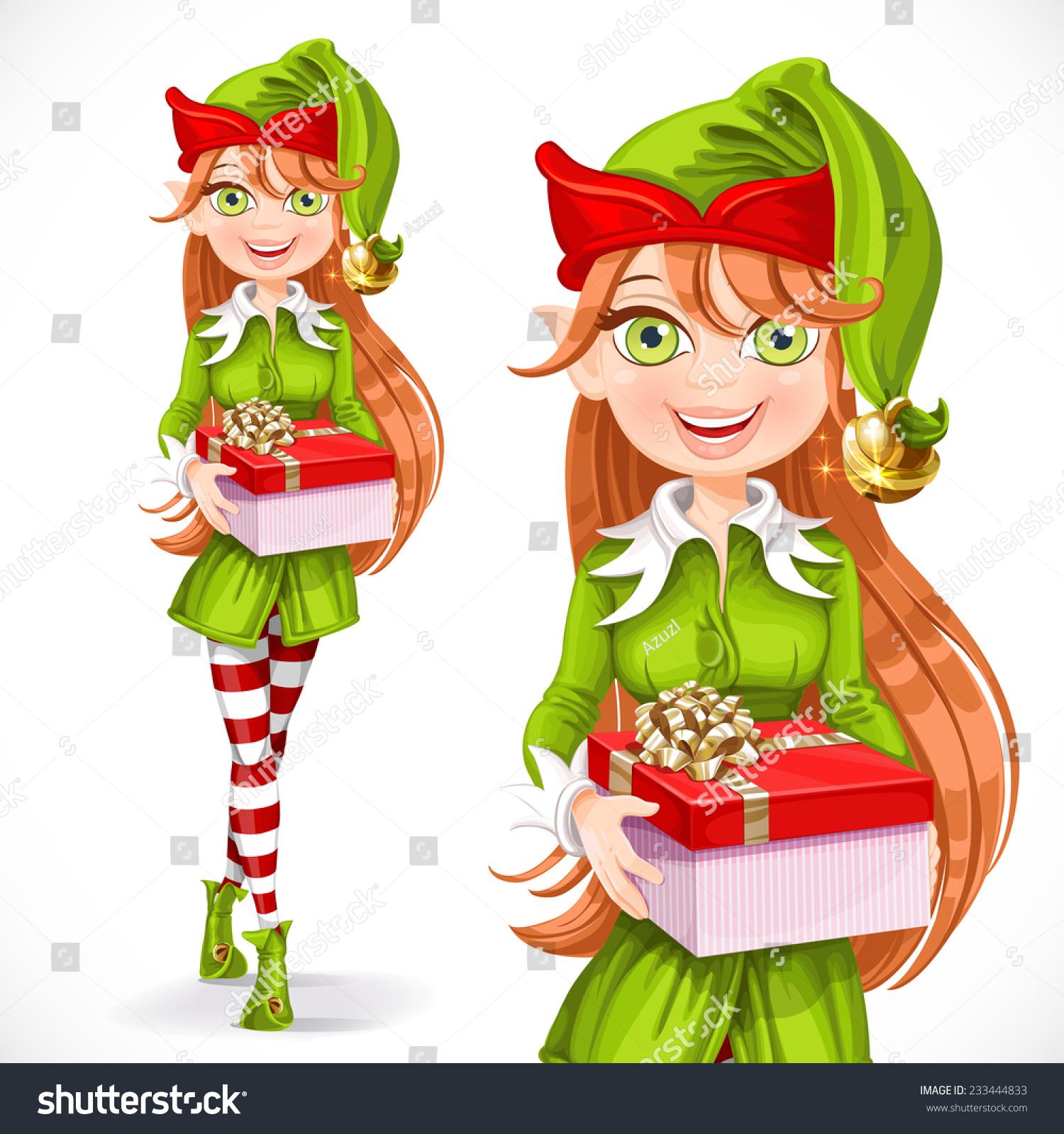 cute santa elf give gift stock vector 233444833 shutterstock