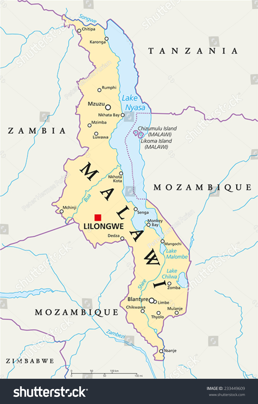 Malawi Political Map With Capital Lilongwe National Borders Important Cities Rivers And Lakes